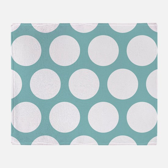 Chalky Blue Large Polka Dots Throw Blanket