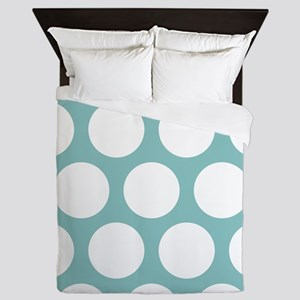 Chalky Blue Large Polka Dots Queen Duvet