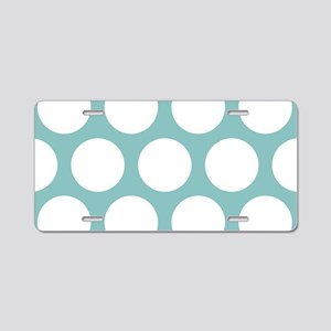 Chalky Blue Large Polka Dot Aluminum License Plate