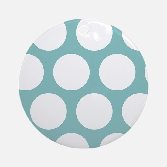 Chalky Blue Large Polka Dots Round Ornament