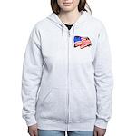 American Flag Butterflies Women's Zip Hoodie