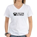 Live Long And Pawsper Women's V-Neck T-Shirt