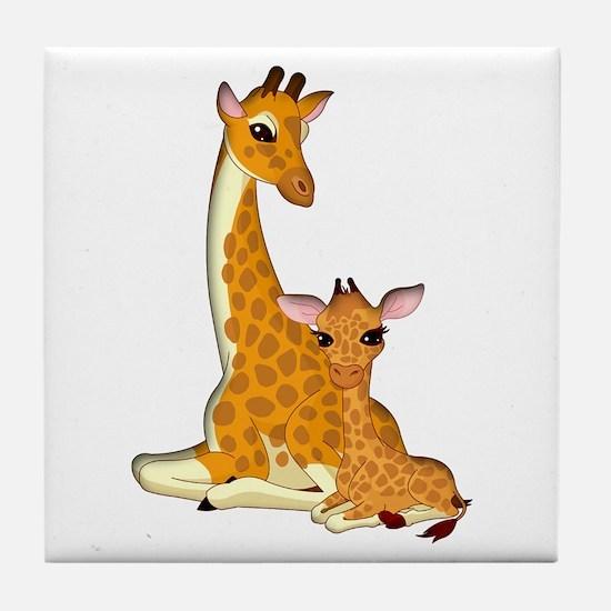 Proud Mom Baby Giraffe Tile Coaster