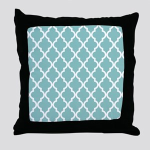 Chalky Blue Moroccan Pattern Throw Pillow