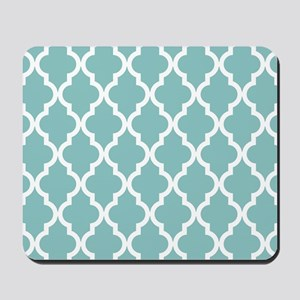 Chalky Blue Moroccan Pattern Mousepad