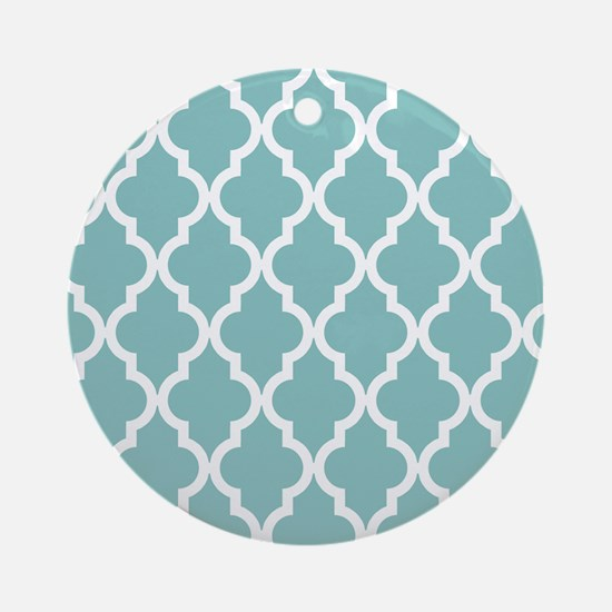 Chalky Blue Moroccan Pattern Round Ornament