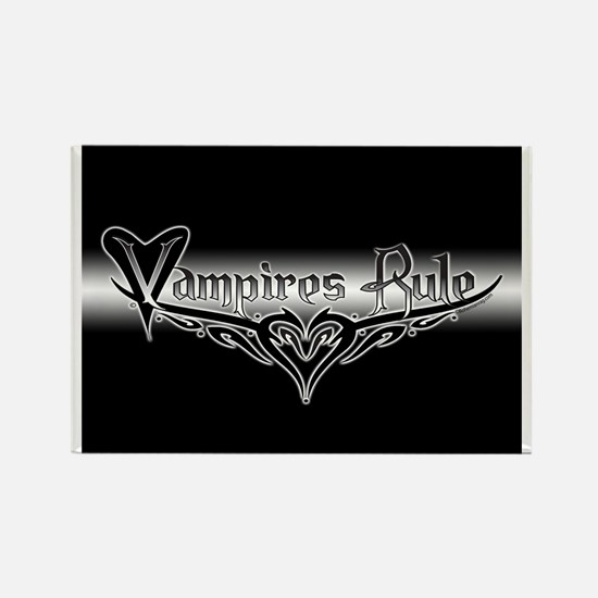 Vampires Rule B&W Mystic Rectangle Magnet