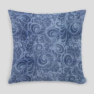 Blue Floral Denim Everyday Pillow