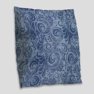 Blue Floral Denim Burlap Throw Pillow