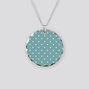 Chalky Blue Small Polka Dots Necklace Circle Charm