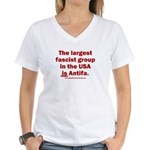 Antifa is Fascist! Duh! Women's V-Neck T-Shirt