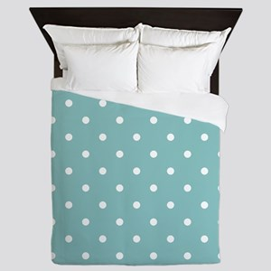 Chalky Blue Small Polka Dots Queen Duvet