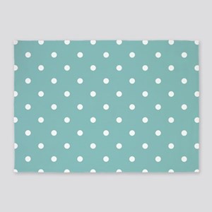 Chalky Blue Small Polka Dots 5'x7'Area Rug