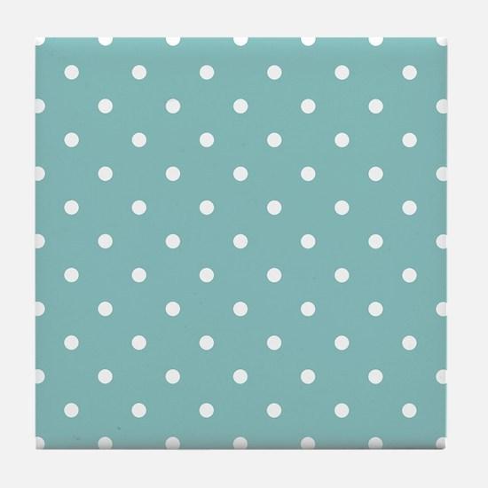 Chalky Blue Small Polka Dots Tile Coaster