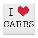 I Heart Carbs Tile Coaster
