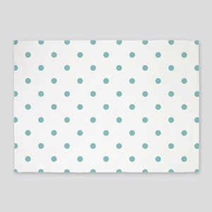 Chalky Blue Small Polka Dots (Rever 5'x7'Area Rug