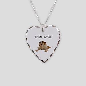 Happy Face Bulldog Necklace Heart Charm
