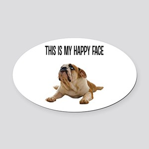 Happy Face Bulldog Oval Car Magnet