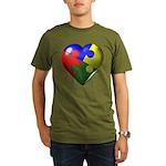 Autism Puzzle Heart Organic Men's T-Shirt (dark)