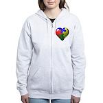Autism Puzzle Heart Women's Zip Hoodie