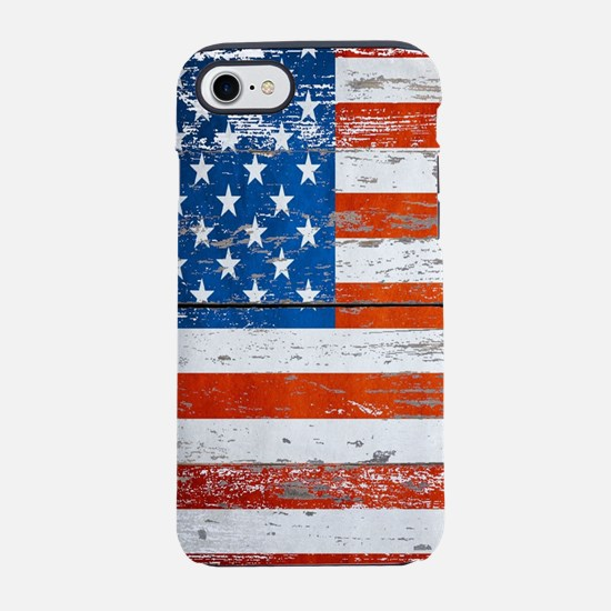 Primitive barnwood American Fl iPhone 7 Tough Case
