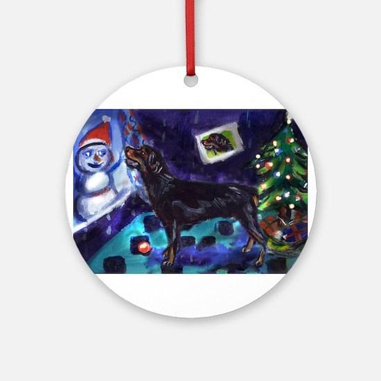 Rottweiler xmas snowman Ornament (Round)