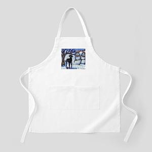 Black Lab Snowman design BBQ Apron