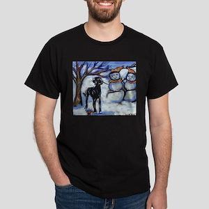 Black Lab Snowman design Black T-Shirt