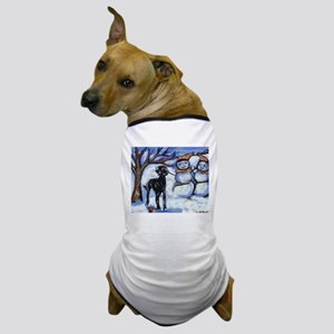 Black Lab Snowman design Dog T-Shirt