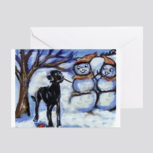 Black Lab Snowman design Greeting Cards (Package o