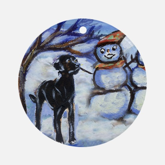 Black Lab Snowman design Ornament (Round)