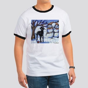 Black Lab Snowman design Ringer T
