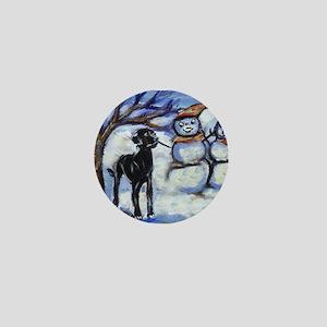 Black Lab Snowman design Mini Button