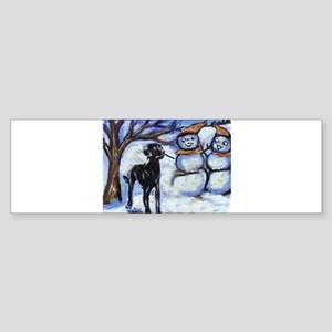 Black Lab Snowman design Bumper Sticker