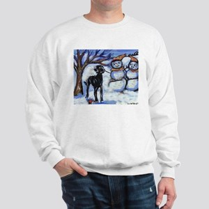 Black Lab Snowman design Sweatshirt