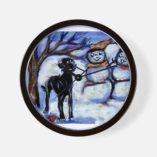 Black Lab Snowman design Wall Clock