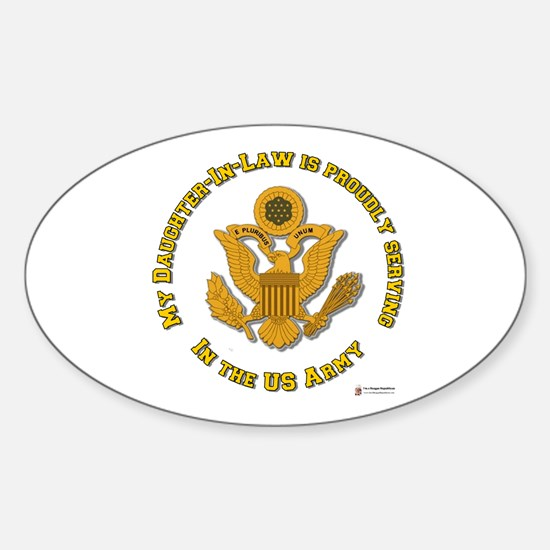 Army Daughter-in-Law Gold Oval Decal
