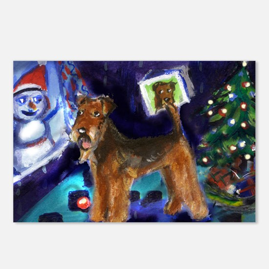 Airedale Snowman design Postcards (Package of 8)
