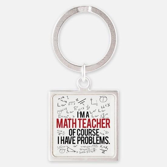 Cute Math teacher Square Keychain