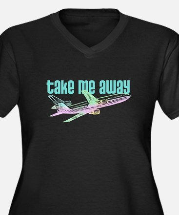 Take Me Away Jet Women's Plus Size V-Neck Dark T-S