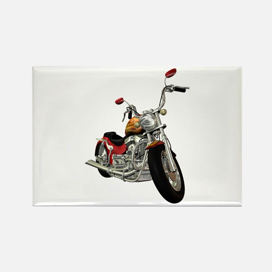Red Motorcycle Rectangle Magnet
