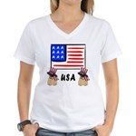 Patriotic USA Pug Dogs Women's V-Neck T-Shirt