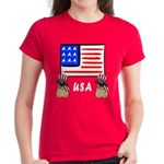 Patriotic USA Pug Dogs Women's Dark T-Shirt