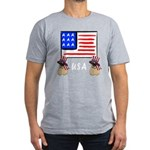 Patriotic USA Pug Dogs Men's Fitted T-Shirt (dark)