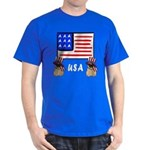 Patriotic USA Pug Dogs Dark T-Shirt