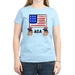 Patriotic USA Pug Dogs Women's Light T-Shirt