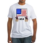Patriotic USA Pug Dogs Fitted T-Shirt