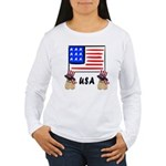 Patriotic USA Pug Dogs Women's Long Sleeve T-Shirt