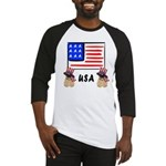 Patriotic USA Pug Dogs Baseball Jersey