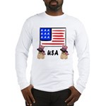 Patriotic USA Pug Dogs Long Sleeve T-Shirt